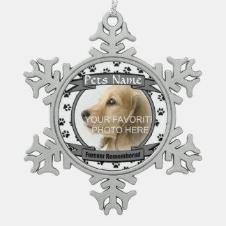 Het voor altijd Herinnerde Gedenkteken van de Hond Tin Sneeuwvlok Ornament