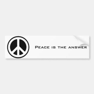 het vredes symbool, Vrede is het antwoord Bumpersticker