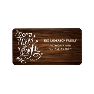 Het vrolijke en Heldere houten etiket van het Addressticker