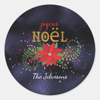 Het vrolijke Franse Mariene Glas van Kerstmis Ronde Sticker