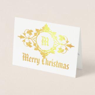 Het vrolijke Gouden Monogram van Kerstmis in Folie Kaarten