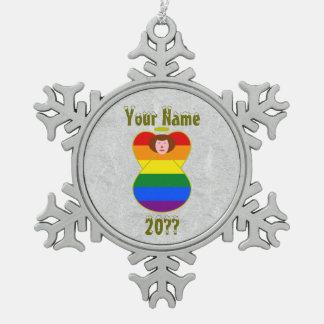 Het vrolijke Kastanjebruine Haar van de Vlag van Tin Sneeuwvlok Ornament