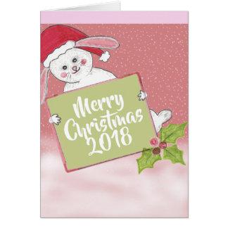 Het vrolijke Konijn van de Sneeuw van Kerstmis Briefkaarten 0