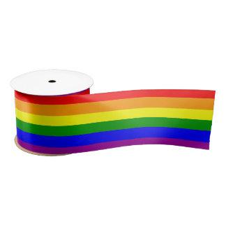 Het vrolijke patroon van de Vlag van de Regenboog Satijnen Lint