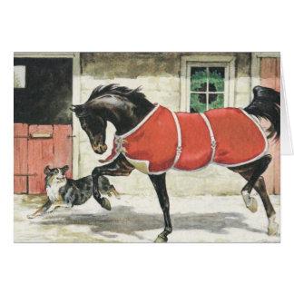 Het vrolijke Vintage Paard en de Hond van Kerstmis Briefkaarten 0