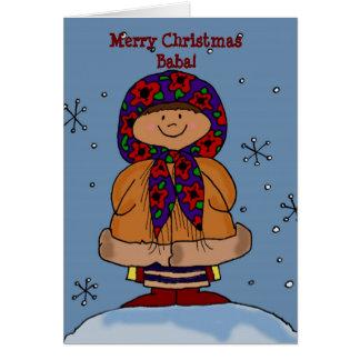 Het vrolijke VolksArt. van het Meisje van Kerstmis Wenskaart