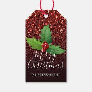 Het vrolijke Zwarte Rood van Kerstmis schittert de Cadeaulabel