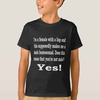 Het vrouw lispeelt, B T Shirt
