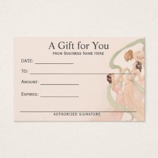 Het vrouwelijke Vintage Certificaat van de Gift Visitekaartjes