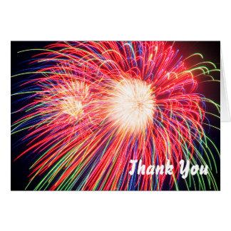 Het vuurwerk dankt u notitiekaart
