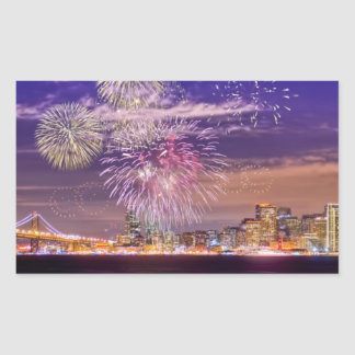 Het Vuurwerk van het Nieuwjaar van San Francisco Rechthoekige Sticker