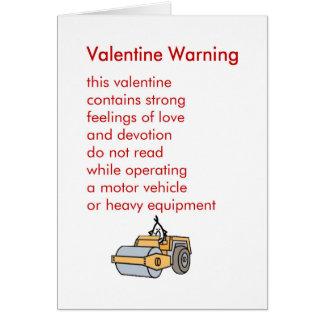 Het Waarschuwen van Valentijn - een grappig Wenskaart