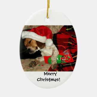 Het wachten op Kerstmis van de Hond van de Brak Keramisch Ovaal Ornament