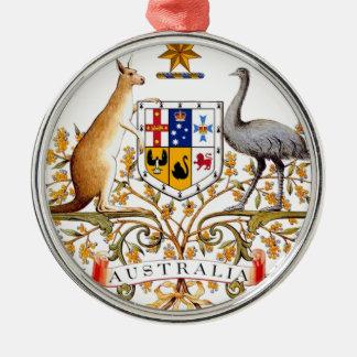 Het Wapenschild van Australië Zilverkleurig Rond Ornament