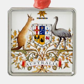 Het Wapenschild van Australië Zilverkleurig Vierkant Ornament
