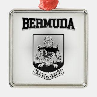 Het Wapenschild van de Bermudas Zilverkleurig Vierkant Ornament