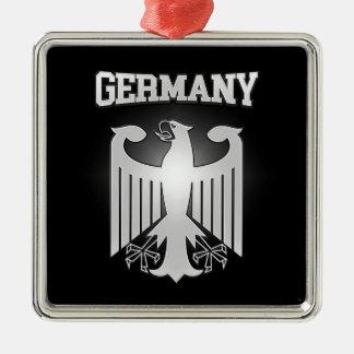 Het Wapenschild van Duitsland Zilverkleurig Vierkant Ornament