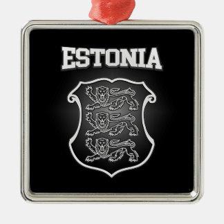 Het Wapenschild van Estland Zilverkleurig Vierkant Ornament