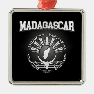 Het Wapenschild van Madagascar Zilverkleurig Vierkant Ornament
