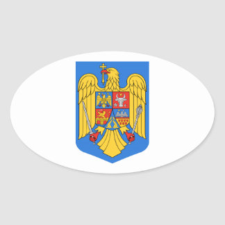 Het Wapenschild van Roemenië Ovaalvormige Sticker
