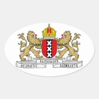 Het Wapenschild van VIER Amsterdam Ovaalvormige Stickers