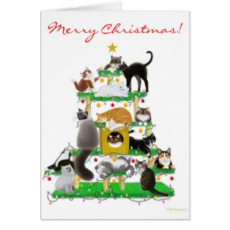 Het Wenskaart van de Boom van de Kat van Kerstmis