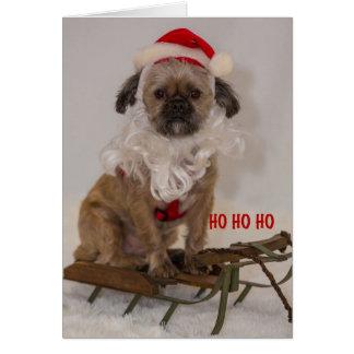 Het Wenskaart van de Kerstman van het puppy