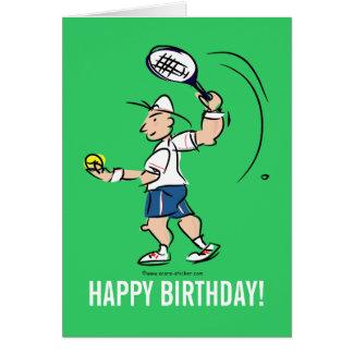 Het wenskaart van de verjaardag voor tennisspeler