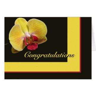Het Wenskaart van gelukwensen - de Gele Orchidee