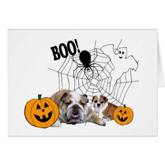 Het Wenskaart van Halloween van buldoggen