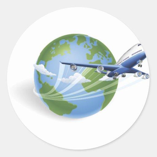 Het wereldbolconcept van het vliegtuig ronde sticker