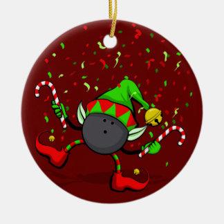 Het werpende Dansende Elf van Kerstmis Rond Keramisch Ornament