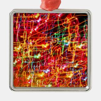 Het wervelende Gloeien van Neonlichten Zilverkleurig Vierkant Ornament