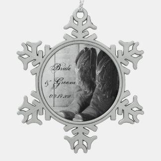 Het Westerne Huwelijk van het rustieke van de Tin Sneeuwvlok Ornament