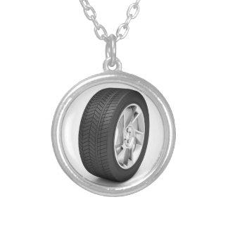 Het wiel van de auto zilver vergulden ketting