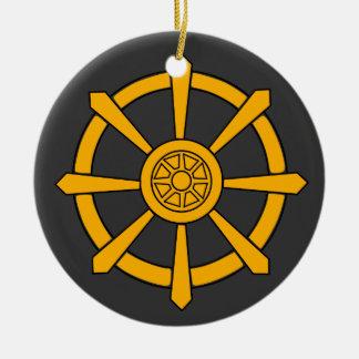 Het Wiel van Dharma Rond Keramisch Ornament
