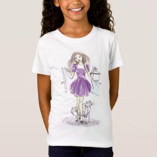 Het Winkelen van het Meisje en van de Kat van de T Shirt
