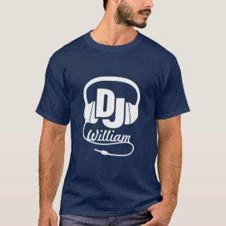 Het wit van de de naamhoofdtelefoon van DJ op T Shirt