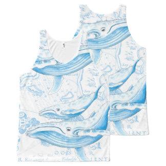 Het Wit van de Familie van Blauwe vinvissen All-Over-Print Tank Top
