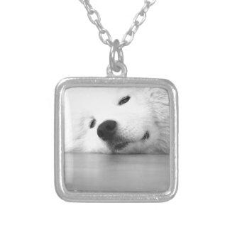 Het Wit van de Hond van de Foto van Samoyed Zilver Vergulden Ketting