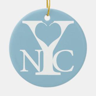 Het wit van New York van de liefde Rond Keramisch Ornament