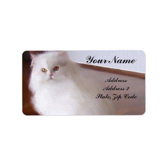 Het witte Adresetiket van de Perzische kat Etiket