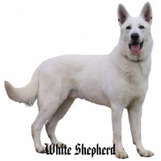 Het witte Beeldhouwwerk van de Foto van de Herder Staand Fotobeeldje