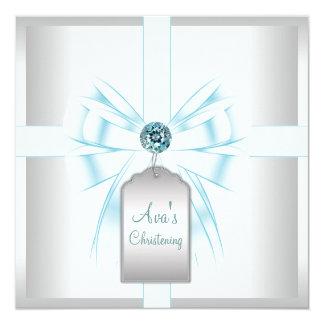 Het witte Blauwgroen Blauwe Doopsel van het 13,3x13,3 Vierkante Uitnodiging Kaart