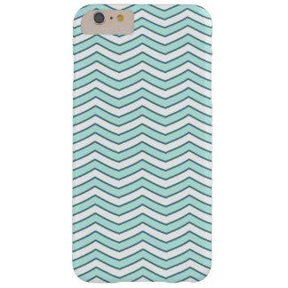 Het witte Blauwgroen Patroon van de Chevron van de Barely There iPhone 6 Plus Hoesje
