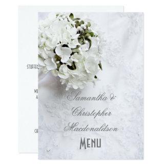 Het witte bloemenmenu van het boekethuwelijk kaart