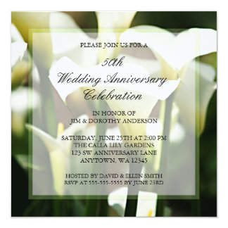 Het witte Calla Jubileum van het Huwelijk van de 13,3x13,3 Vierkante Uitnodiging Kaart
