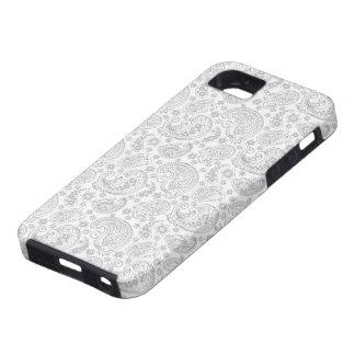 Het witte en Lichtgrijze Vintage Patroon van Tough iPhone 5 Hoesje