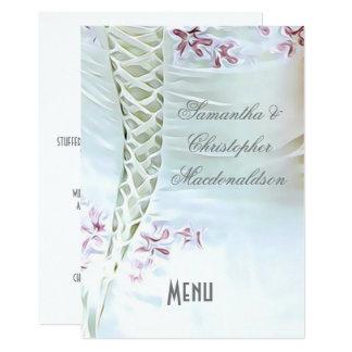 Het witte en roze menu van de huwelijkskleding kaart