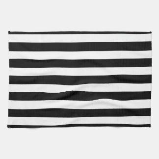 Het witte en Zwarte Elegante Horizontale Patroon Theedoek